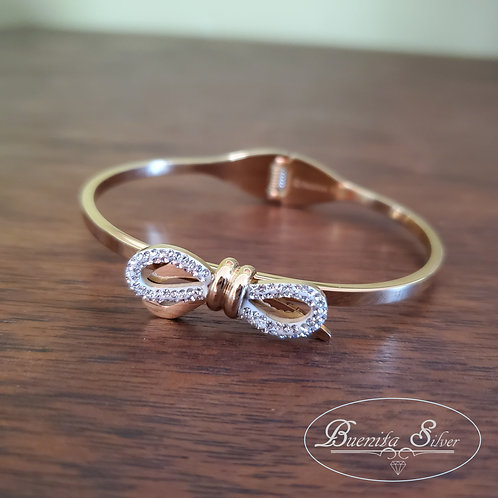Stainless Steel Crystal Bow Bangle
