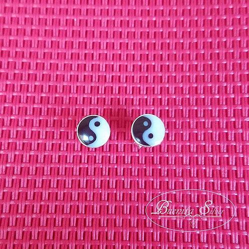 Sterling Silver Yin-Yang Stud Earrings
