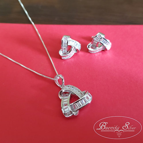 Sterling Silver CZ Knot Earrings & Necklace Set