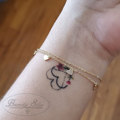 Sterling Silver Heart Charms Bracelet