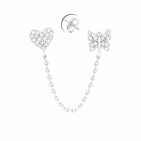 Sterling Silver Heart & Butterfly Stud Earrings with Dangle Chain