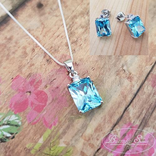 Sterling Silver Rectangular Blue Topaz CZ Pendant & Earrings Set