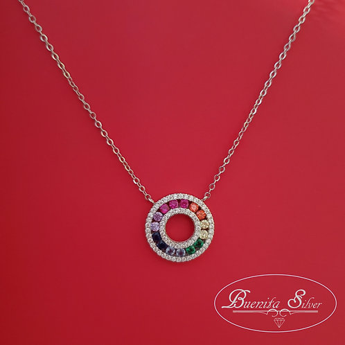 Sterling Silver Multi-Color CZ Round Pendant Necklace