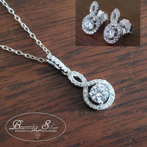 Sterling Silver Cubic Zirconia Earrings & Pendant Necklace