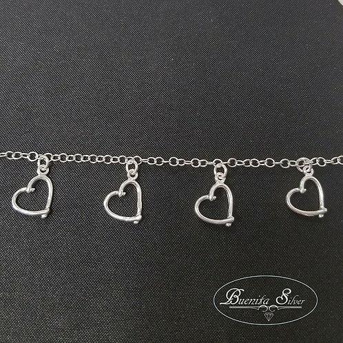 "7.5"" Sterling Silver Heart Charms Bracelet"