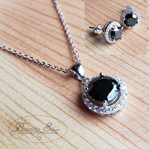 Sterling Silver CZ Black Pendant  Earrings & Necklace Set