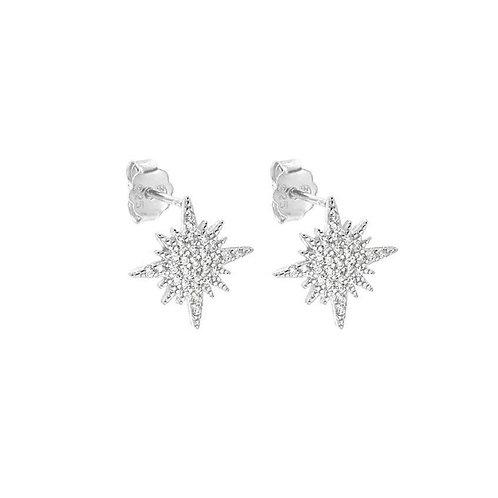 Sterling Silver Cubic Zirconia Star Stud Earrings