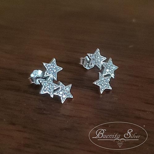 Sterling Silver CZ Triple Stars Stud Earrings