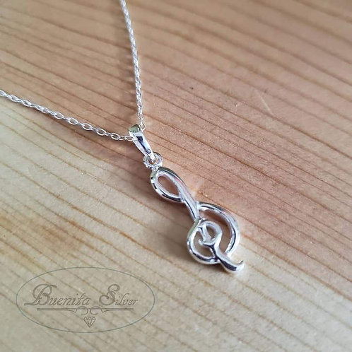 Sterling Silver Treble Clef Music Note Pendant Necklace