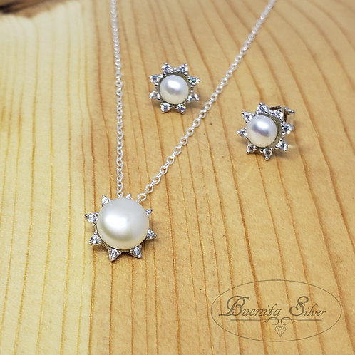 Sterling Silver Freshwater Pearl Necklace & Earrings Set