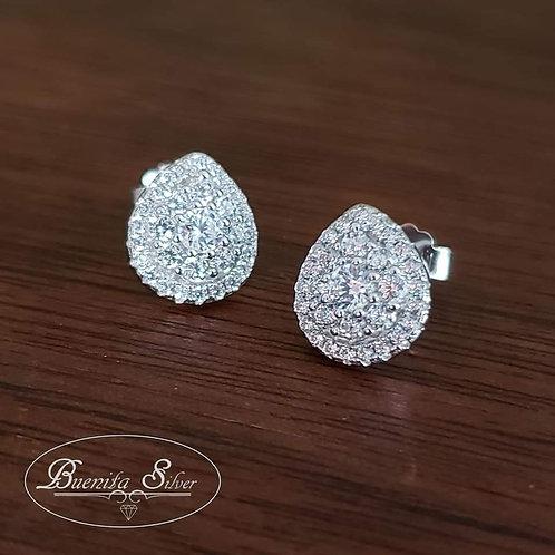 Sterling Silver CZ Teardrop Shape Stud Earrings