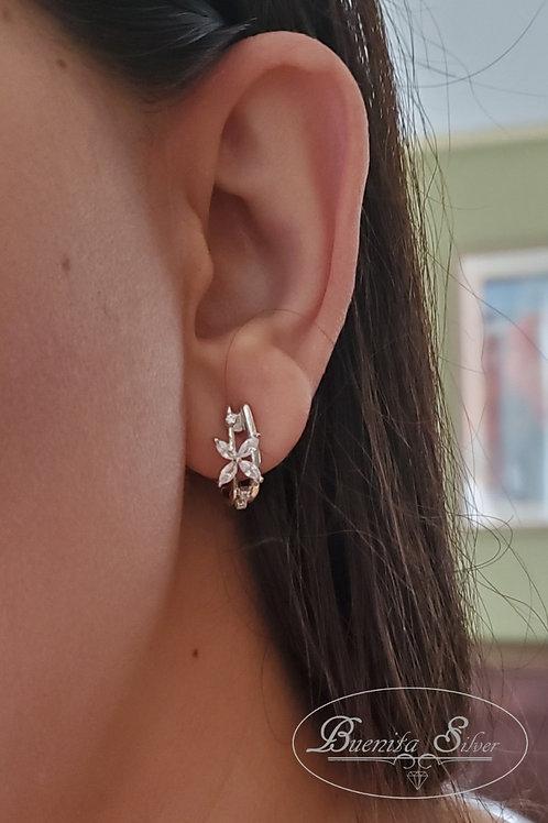 Sterling Cubic Zirconia Flower Hoop Earrings