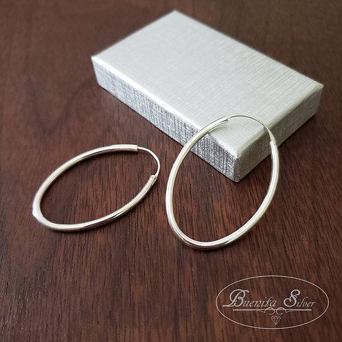 2mm Sterling Silver Oval Hoop Earrings