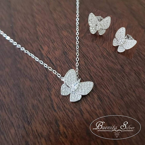 Sterling Silver CZ Butterfly Earrings & Necklace Set