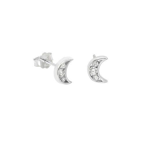 Sterling Silver CZ Moon Stud Earrings