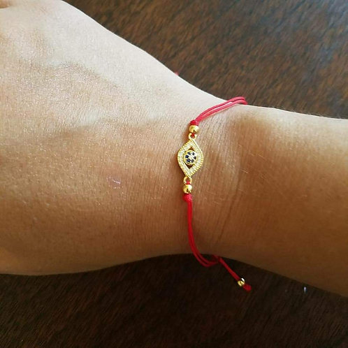 Sterling Silver CZ Evil Eye Red Cord Bracelet
