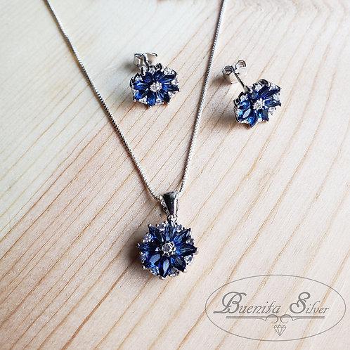 Sterling Silver Sets W/CZ - Blue Sapphire