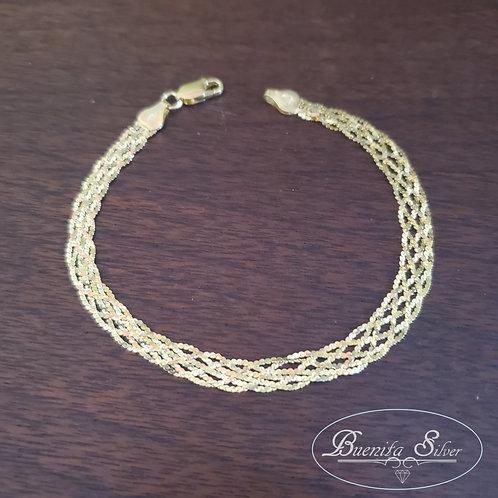 "925 8"" Five Strand Sterling Silver Braided Bracelet"