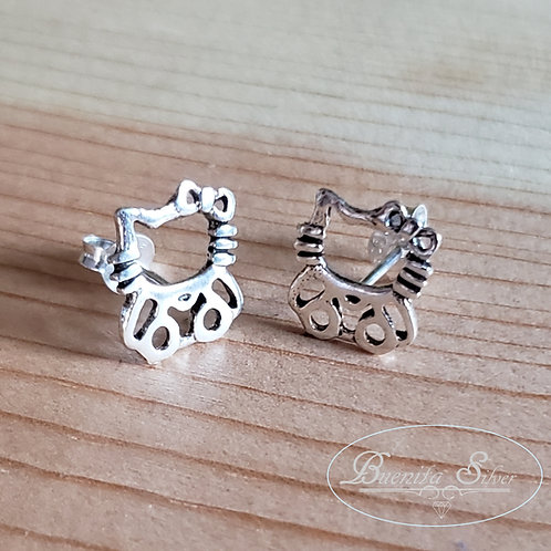 Sterling Silver Hello Kitty Stud Earrings