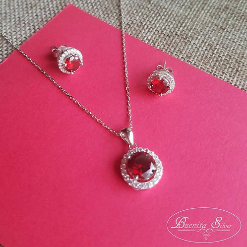 Sterling Silver CZ Simulated Ruby Halo Earrings & Necklace Set
