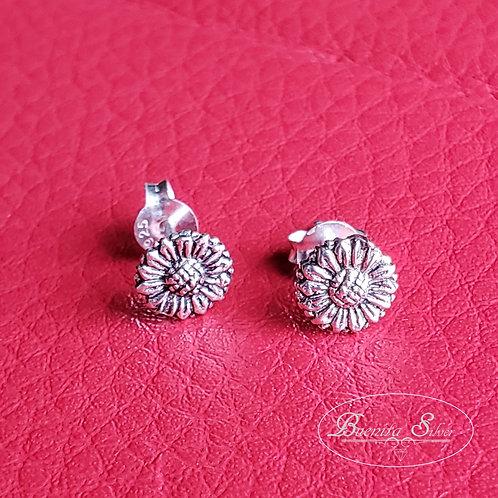 Sterling Silver Sunflower Stud Earrings
