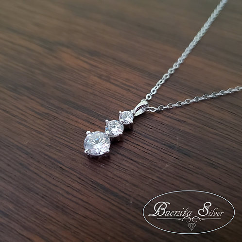 Sterling Silver CZ Three Stones Necklace
