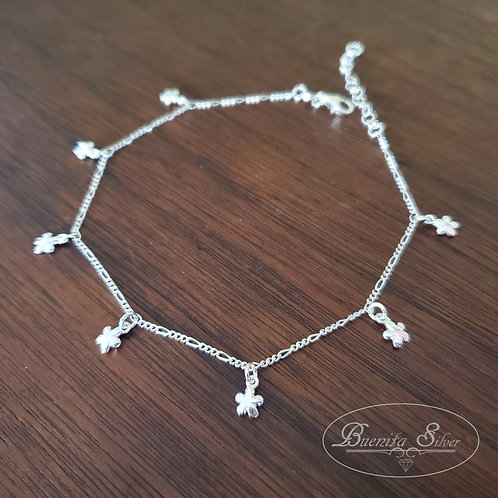 "10"" Sterling Silver Flower Ankle Bracelet"
