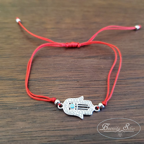 Sterling Silver CZ Hand of God Hamsa Red String Bracelet
