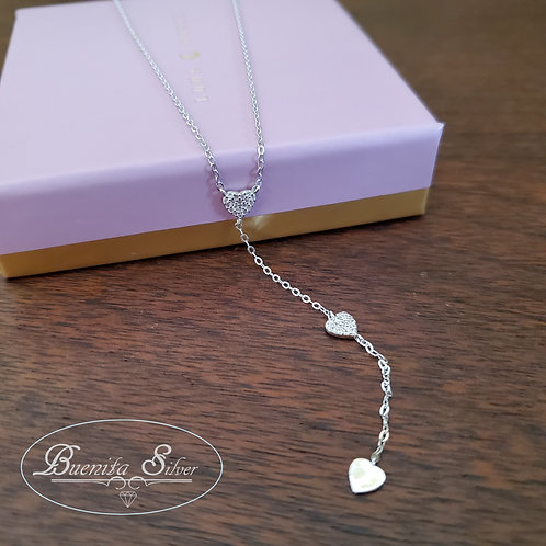 Sterling Silver CZ Hearts Necklace