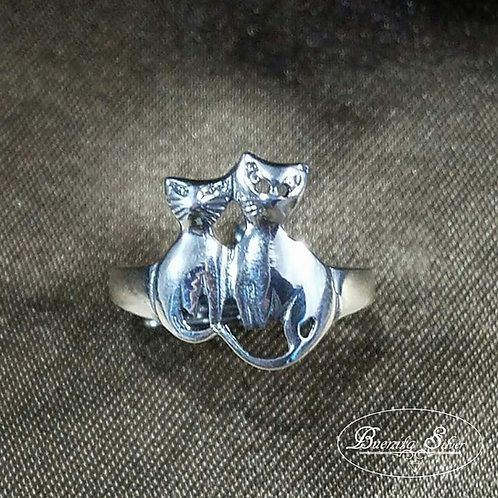 925 Sterling Silver Cats Ring