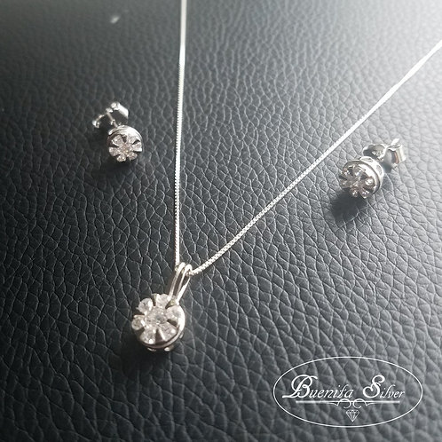 Sterling Silver CZ Round Pendant Necklace & Earrin