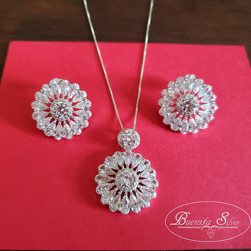 Sterling Silver Cubic Zirconia Flower Earrings and Necklace Set