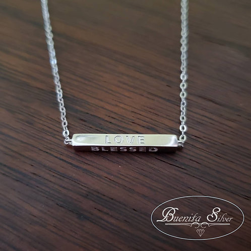 """Sterling Silver """"Love, Blessed, Faith & Believe"""" Bar Necklace"""