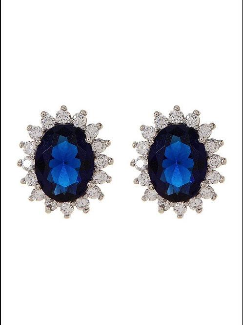 Sterling Silver Blue Sapphire CZ  Earrings