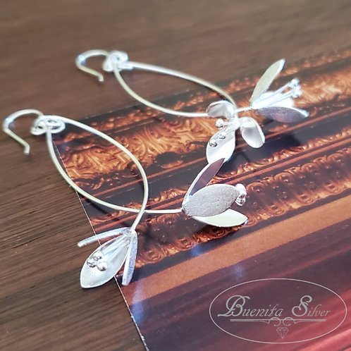 Sterling Silver Hanging Flower Earrings