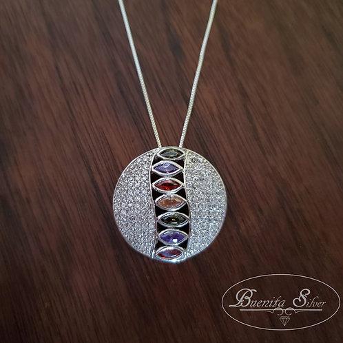 Sterling Silver CZ Multi Color Pendant Necklace