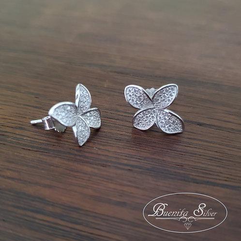 Sterling Silver CZ Flower Earrings