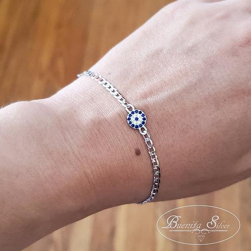 """7"""" Sterling Silver CZ Evil Eye Bracelet"""