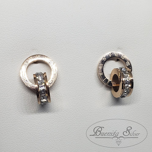 Stainless Steel Double Circle Stud Earrings