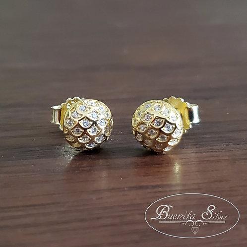 925 Sterling Silver CZ Half Ball Stud Earrings