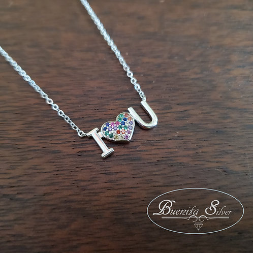 Sterling Silver CZ I Love You Heart Necklace