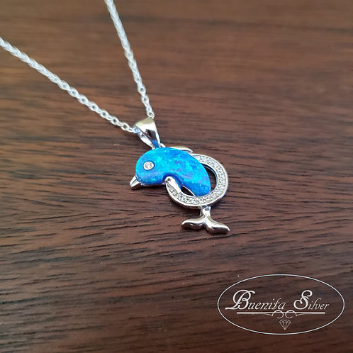 Sterling Silver CZ Blue Opal Dolphin Pendant Necklace