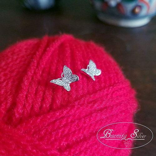 Sterling Silver Butterfly CZ Earrings