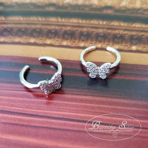 Sterling Silver CZ  Butterfly Cuff Earrings