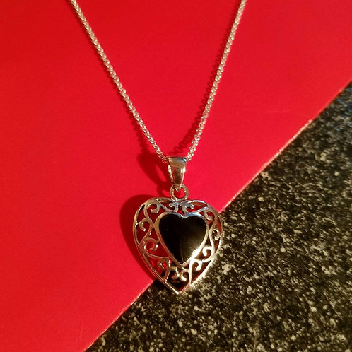 Sterling Silver Black Onyx Stone Heart Pendant Nec