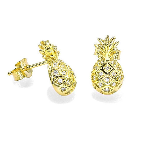 Sterling Silver CZ Pineapple Stud Earrings