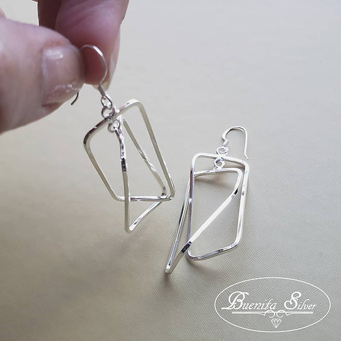 Sterling Silver Double Rectangle Earrings
