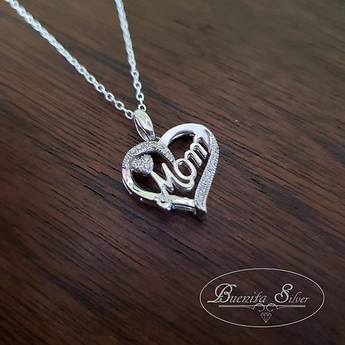 Sterling Silver Mom Heart Pendant Necklace