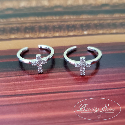 Sterling Silver CZ Cross Cuff Earrings