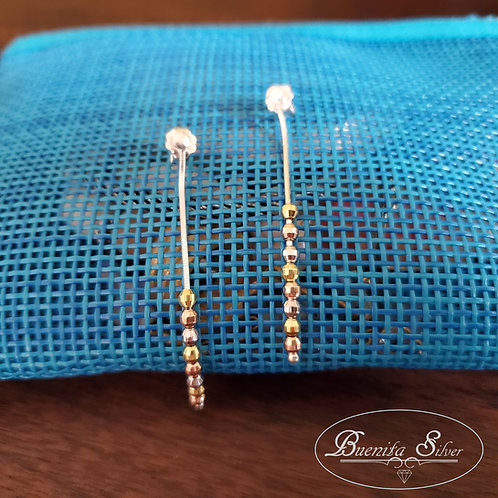 Sterling Silver Tri-Color Beads Earrings